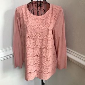 J. Crew Long Sleeve Crocheted Front Shirt Size L